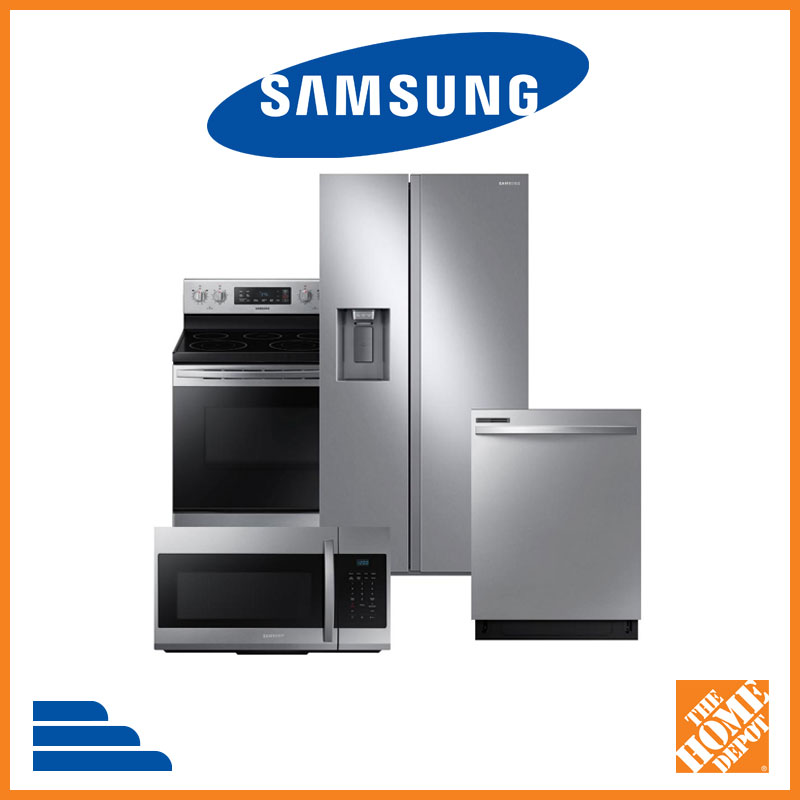 Samsung appliance suite at Home Depot